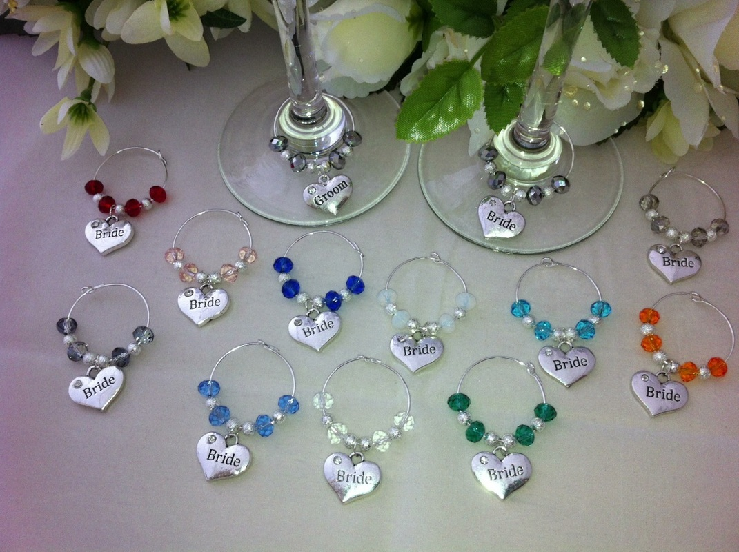 10 x Wine Glass Charms Top Table Bride and  Groom wedding decorations