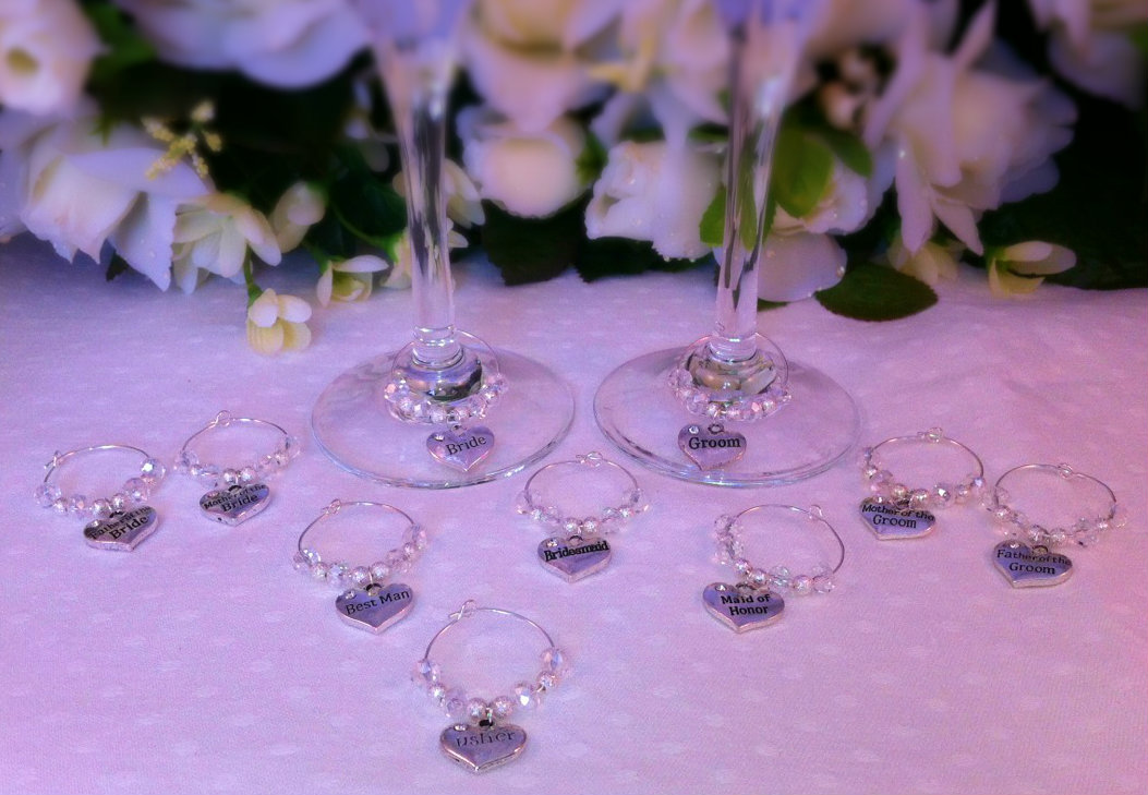 New 10 x Wine Glass Charms Top Table Bride and  Groom  set weddings celebration