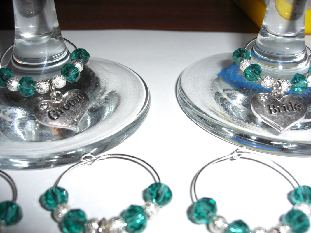 Wine Glass Charms Top Table Bride and  Groom table set of favours weddings