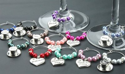 Wine Glass Charms Favours DIY hats Table Decorations Personalised Wedding